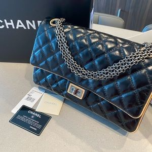 Chanel 2.55 Double Flap Bag with beige trimming